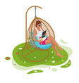 isometric girl with a laptop sitting on garden vector image