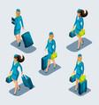 isometry set stewardess girls in beautiful vector image vector image