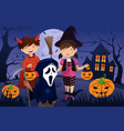 kids dressed up in costumes trick or treating vector image