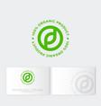 logo organic prod leaf farmer products vector image
