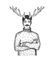 man with deer horns engraving vector image vector image