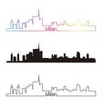 Milan skyline linear style with rainbow vector image vector image