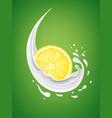 milk splash with fresh lemon slice vector image