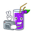 photographer grape juice in glass a mascot vector image vector image