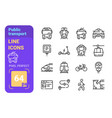 public transport line icons set vector image