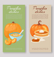 pumpkins dishes banners set menu banner vector image