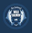 salmon fish vintage fishing emblems vector image vector image