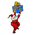 santa claus with christmas gift box vector image vector image