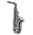 saxophone black and white vector image