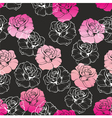 seamless dark floral pattern with pink white roses vector image
