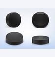 set black rubber pucks for play hockey vector image