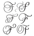 set of art calligraphy letter f with flourish of vector image vector image