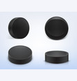 set of black rubber pucks for play hockey vector image