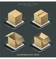 set of dark isometric cardboard box vector image vector image