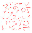 set of hand drawn arrows circle and squares for vector image vector image