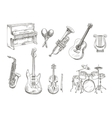 Sletched classic musical instruments set vector image vector image