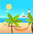 summer beach ball coconut tree beach cot yawl ligh vector image