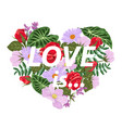 t-shirt print with a heart flowers and slogan vector image vector image