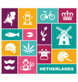 traditional symbols netherlands flat icons vector image vector image