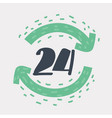 twenty four hour icon on white background vector image vector image