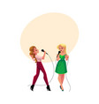 Two pretty girls women singing together karaoke vector image