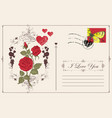 vintage greeting card with inscription i love you vector image vector image