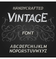 vintage label font on a dark backround vector image vector image
