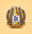 vintage wheat beer bottle and ribbon vector image