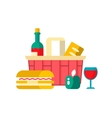 Shopping basket with groceries vector image