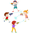 Children playing with water gun vector image