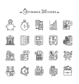 Set of Outline Finance Icons on White Background vector image