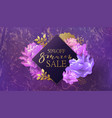 8 march sale banner with flower marble vector image vector image