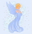 angel girl with wings cross roses and halo vector image