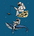 astronaut spaceman with a fishing rod on moon vector image vector image