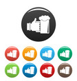 beer in hand icons set color vector image vector image