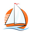 boat on a wave and sun vector image vector image