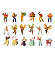 brazilian carnival character costume set latino vector image