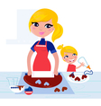 child helping mother vector image vector image