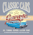 classic car garage vector image vector image