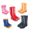 colored rubber boots realistic icon set vector image vector image