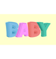 Colorful cartoon BABY text on white background vector image vector image
