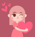 Cute Girl Holding a Big Heart vector image vector image