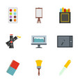 designer equipment icons set flat style vector image vector image