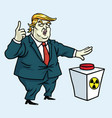 donald trump shouting and push the red button vector image vector image