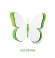 Eco concept green butterfly cut out of paper vector image vector image