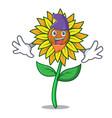 elf sunflower character cartoon style vector image