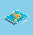 explore maps with isometric style and pin vector image vector image
