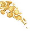 falling metallic bitcoins background vector image vector image