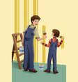 father son painting vector image