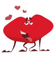 funny heart of love stuck out his tongue from happ vector image vector image